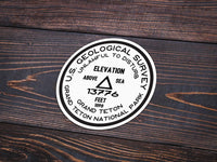 Grand Teton National Park Sticker | Grand Teton USGS Benchmark Sticker - Albion Mercantile Co.