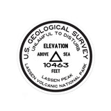Lassen Volcanic National Park Sticker | Lassen Peak USGS Benchmark Sticker - Albion Mercantile Co.