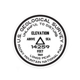 Rocky Mountain National Park Sticker | Longs Peak USGS Benchmark Sticker - Albion Mercantile Co.