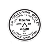 Zion National Park Sticker | Observation Point USGS Benchmark Sticker