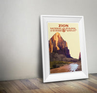 Zion National Park Poster (Virgin River) - Albion Mercantile Co.
