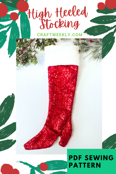 High Heeled Christmas Stocking PDF Sewing Pattern