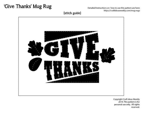 'Give Thanks' Mug Rug Pattern