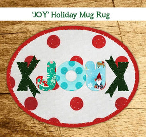 'Joy' Holiday Mug Rug - Easy!