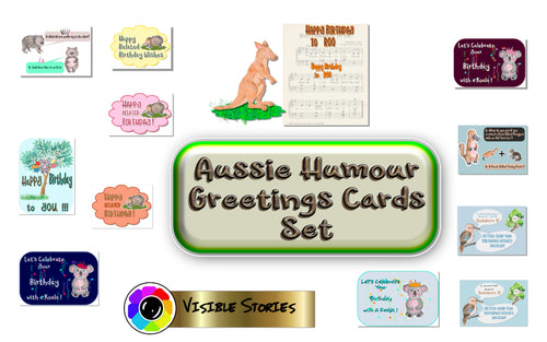 Aussie Humour Greetings Cards  front panels Pack#1