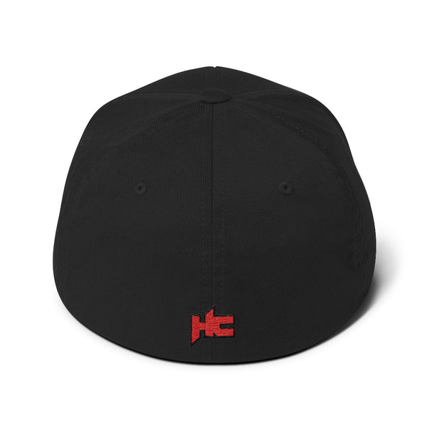 Back of black cap with hc logo embroidery