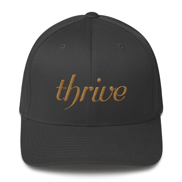 Dark gray cap with thrive embroidery