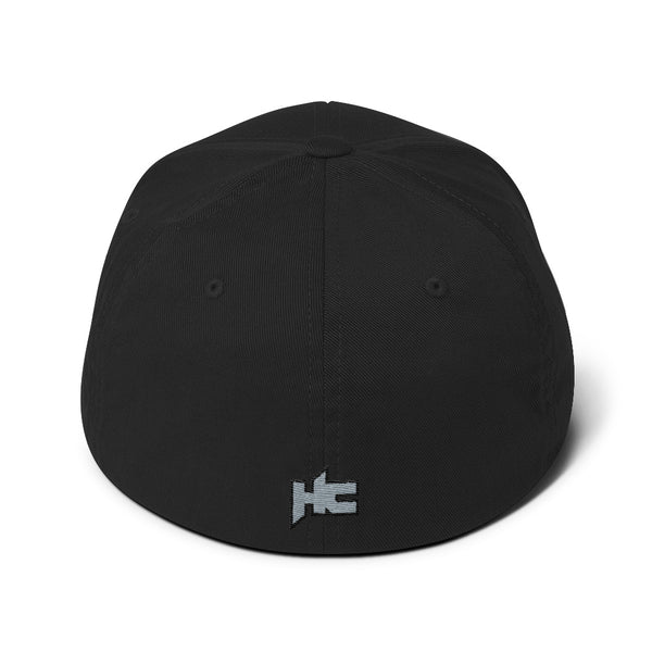 Back of black Structured twill cap with hc logo embroidery