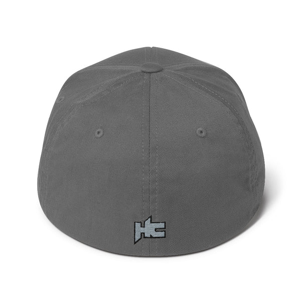 Back of grey Structured twill cap with hc logo embroidery