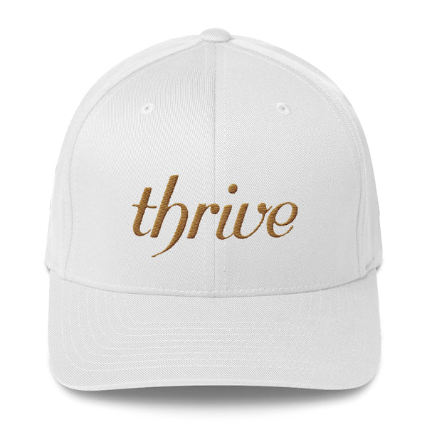 White cap with thrive embroidery