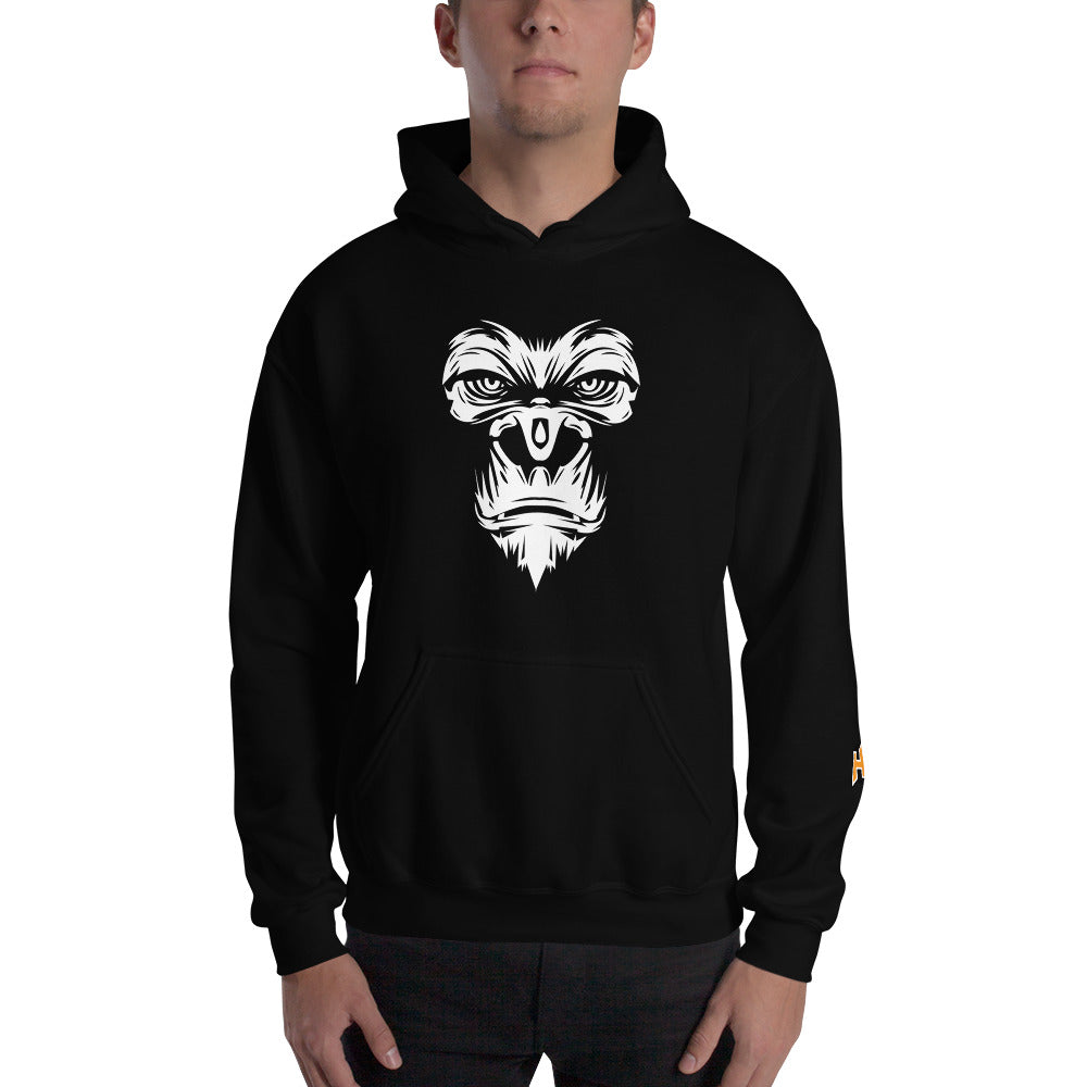 Black hoodie with gorilla print in front