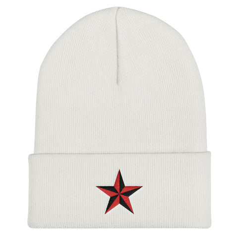 White beanie with Star embroidery