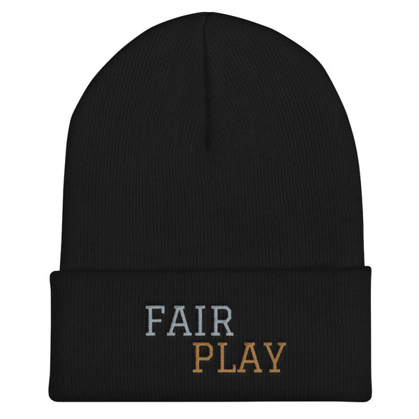 Black beanie with fair play embroidery