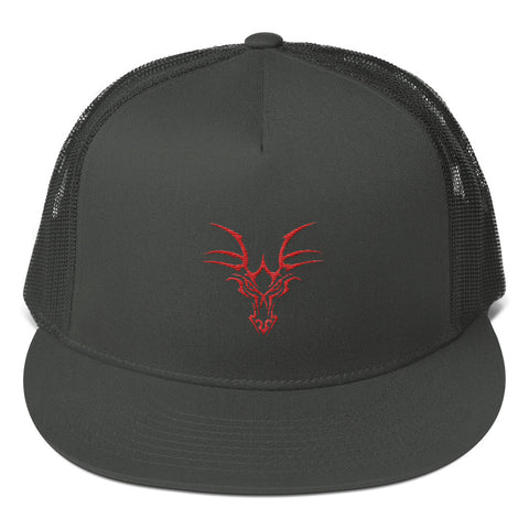 Mesh Back snapback hat with dragon embroidery.