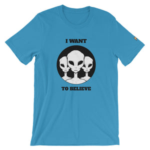 Blue T-shirt with I want to believe design