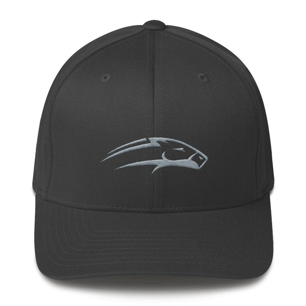 Dark grey Structured twill cap white horse embroidery
