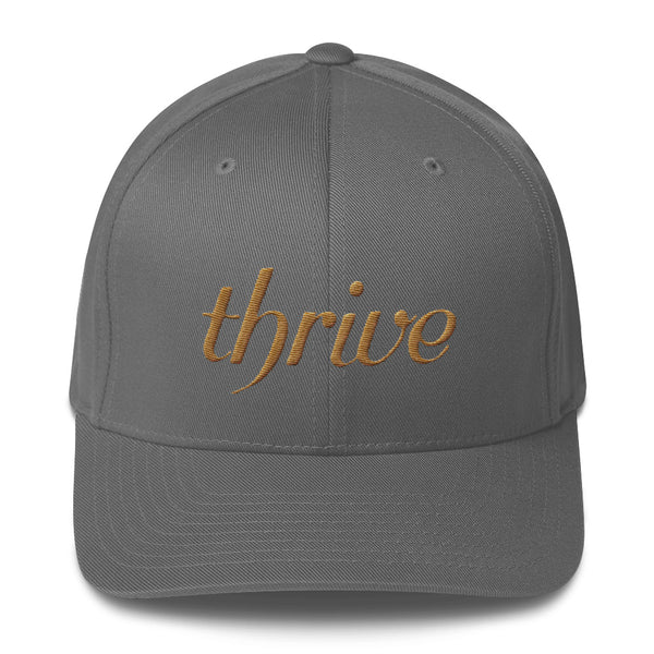 Gray cap with thrive embroidery