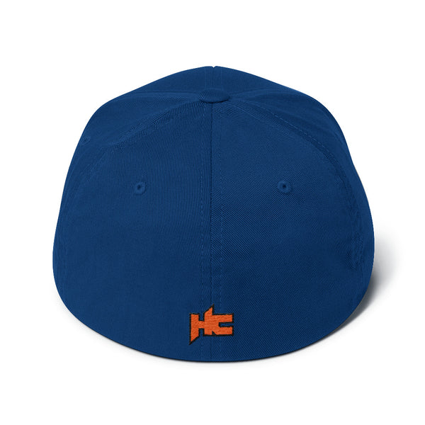 Back ok blue Structured twill cap white hc logo embroidery