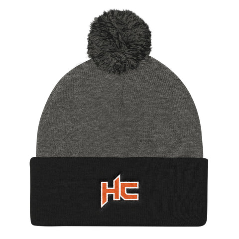 Grey and black pom pom beanie with hc logo embroidery