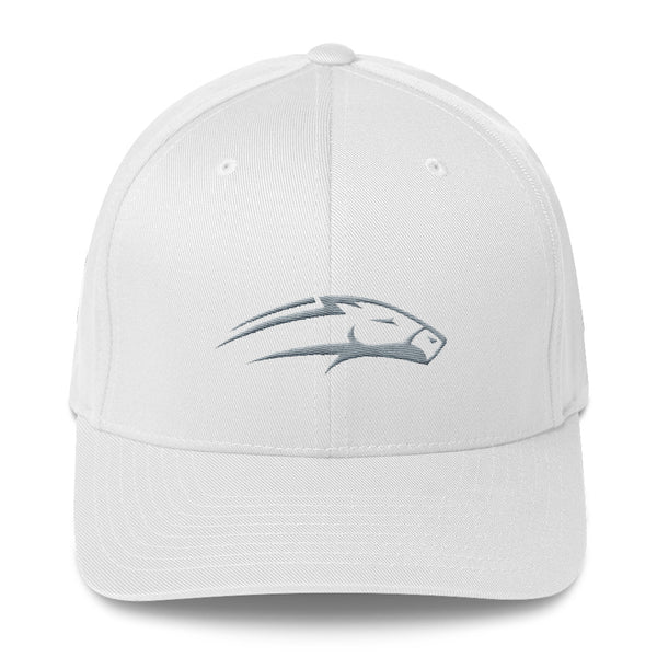 White Structured twill cap white horse embroidery