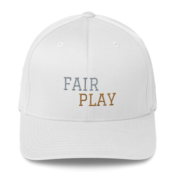 White cap with fair play embroidery