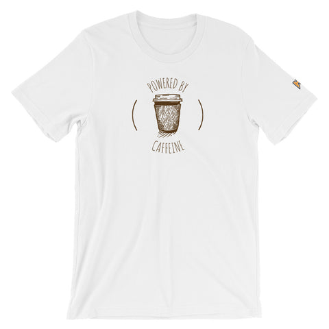 White shirt with powered by caffeine design