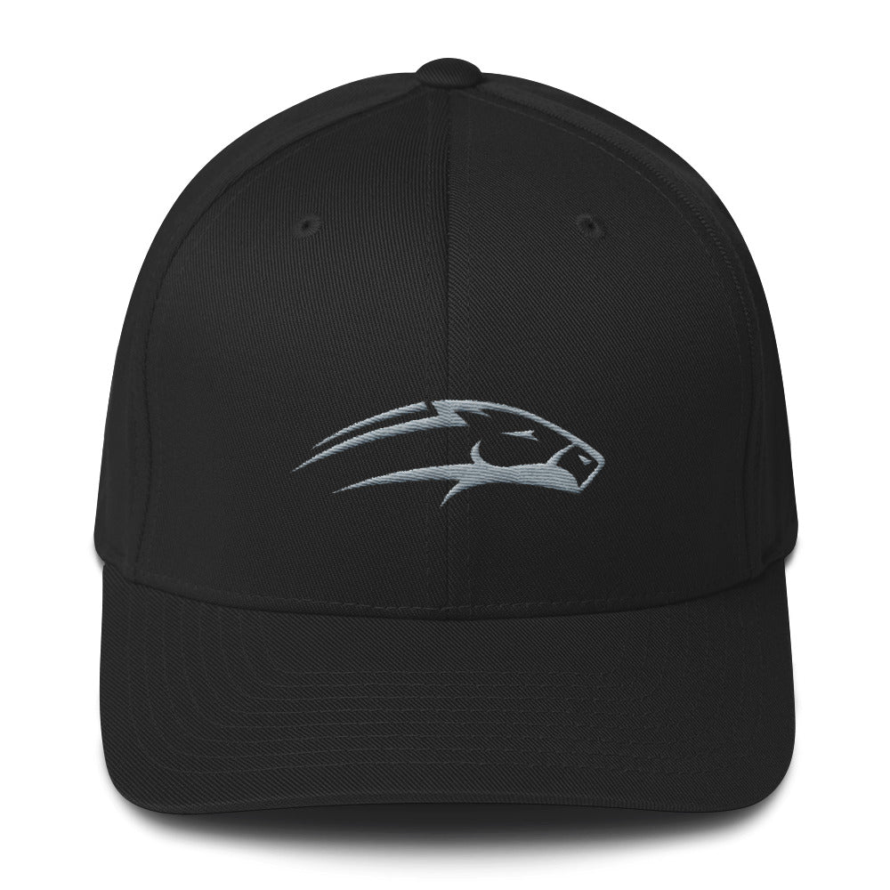 Black Structured twill cap white horse embroidery