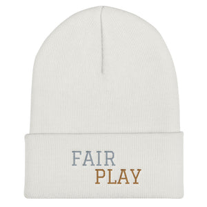 White beanie with fair play embroidery