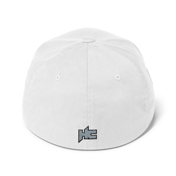 Back of white Structured twill cap with hc logo embroidery