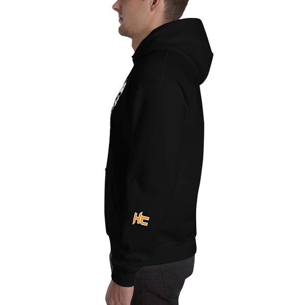 Black hoodie with gorilla print in front and hc logo on left sleeve