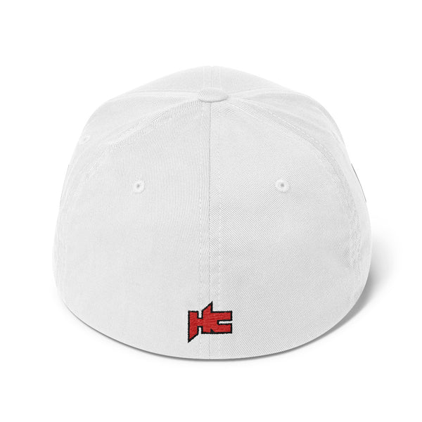 Back of white cap with hc logo embroidery