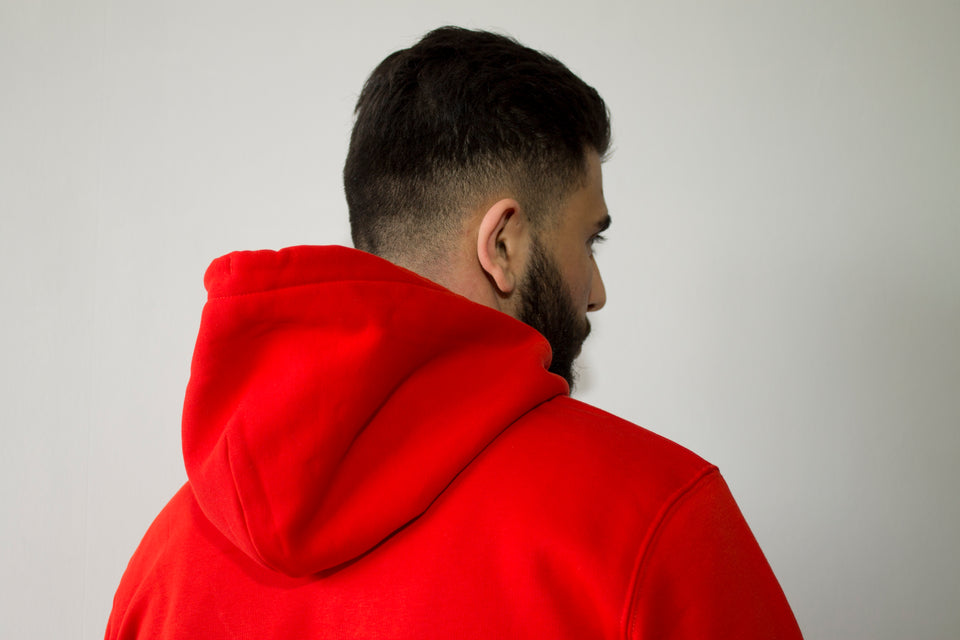 hoodie rouge broderie atmnlvs™ coton bio pull sweat à capuche