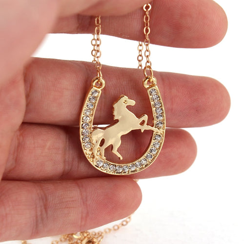Crystal Running Horse Inside Horseshoe Necklace - SafeStallion