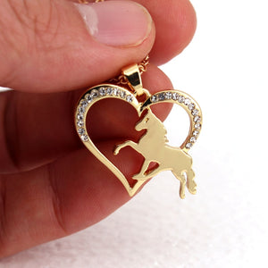 Crystal Horse Love Heart Necklace - SafeStallion