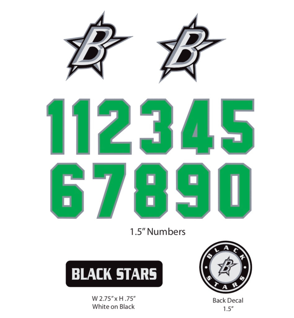 Black Stars Helmet Sticker Set