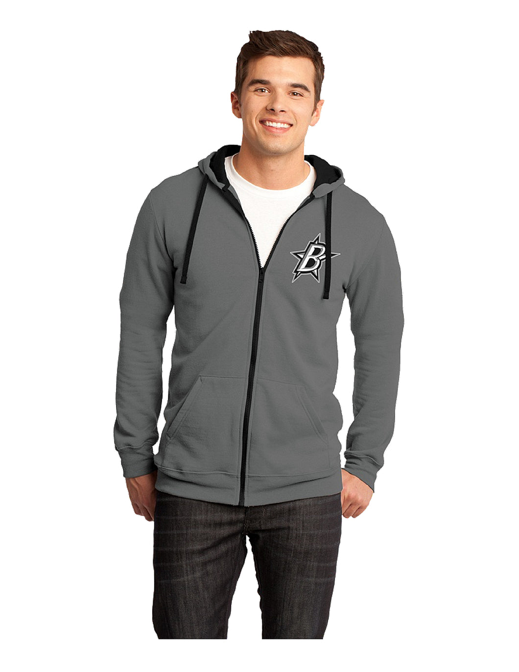 Black Stars District ® The Concert Fleece ® Full-Zip Hoodie Grey With Black Stars Hockey Logo (DT800)