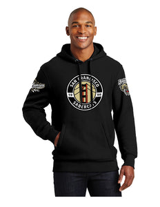 Sabercats Sport-Tek® Super Heavyweight Pullover Hooded Sweatshirt Black with Screen Printed Logos (F281)