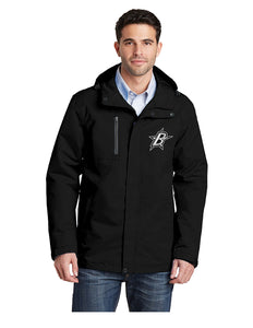 "Black Stars Port Authority® All-Conditions Jacket Black With Embroidered Black Stars ""B"" Logo (331)"