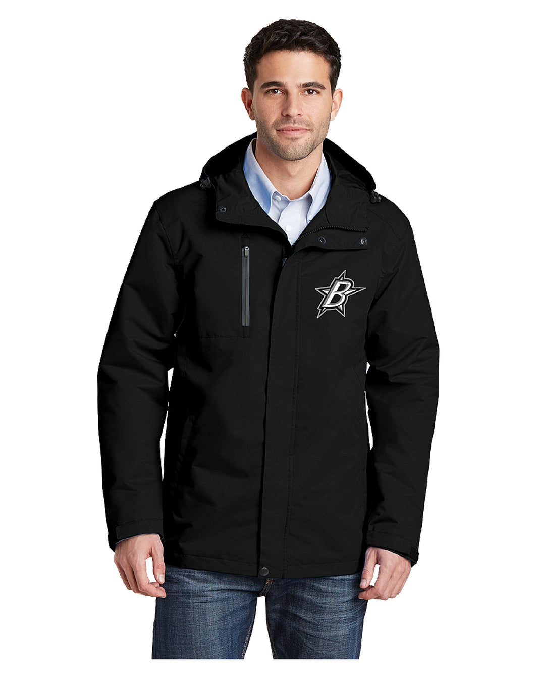 Black Stars Port Authority® All-Conditions Jacket Black With Embroidered Black Stars