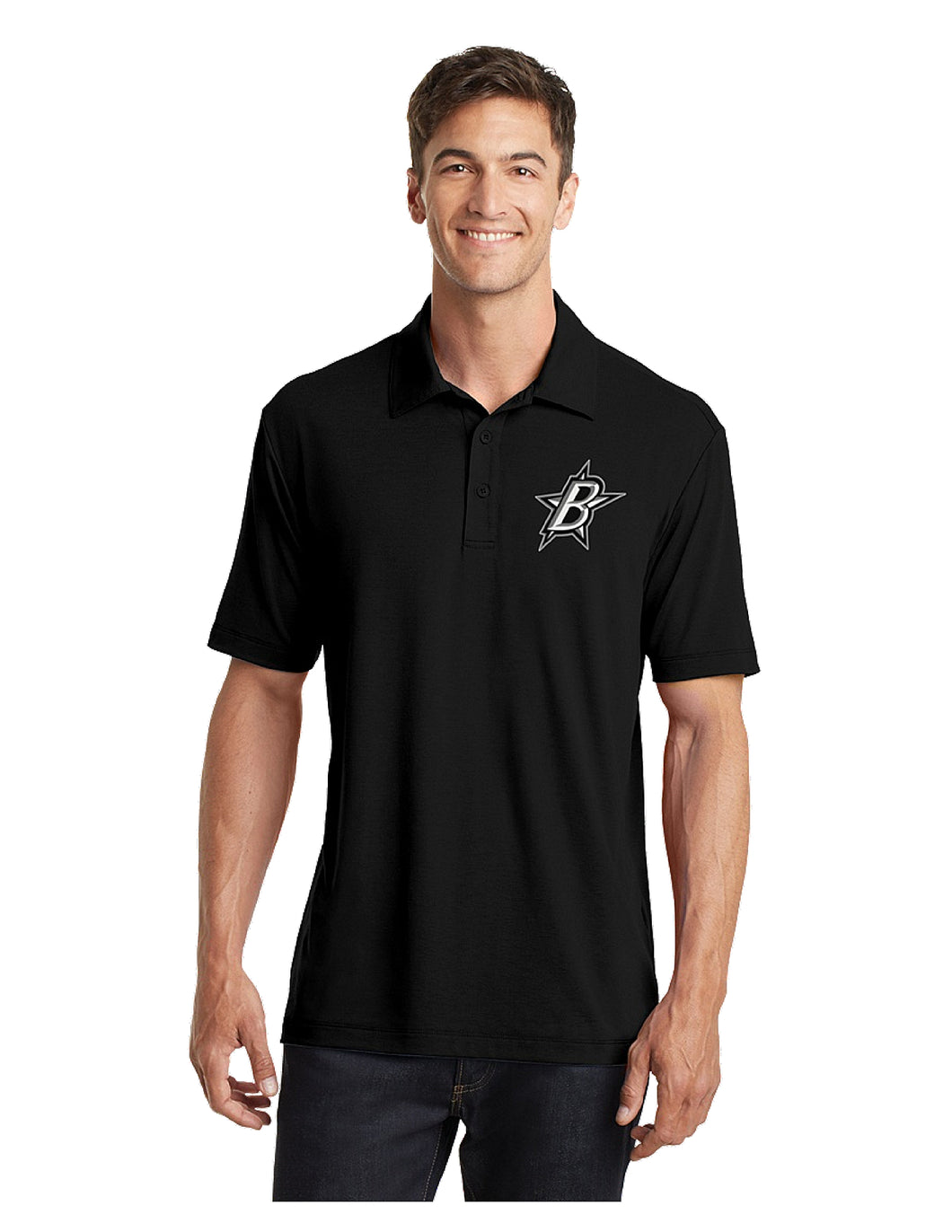 Black Stars Port Authority® Cotton Touch™ Performance Polo Black With Embroidered