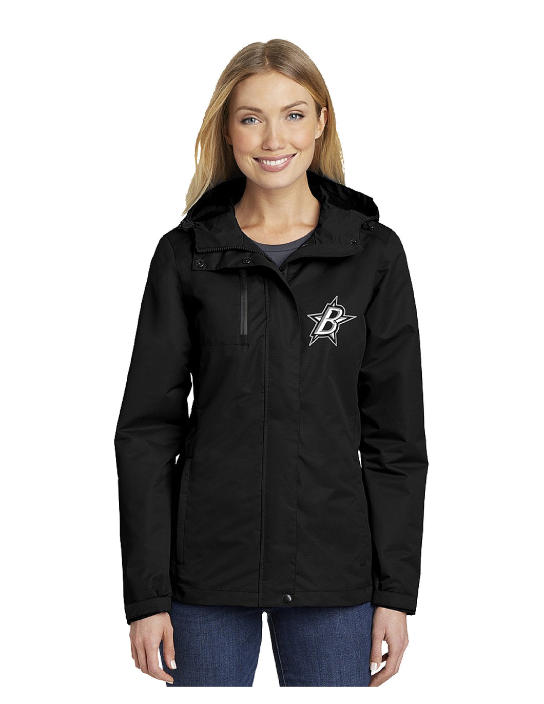 Black Stars Port Authority® Ladies All-Conditions Jacket Black With Embroidered Black Stars