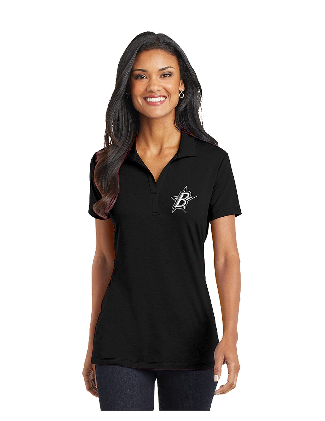 Black Stars Port Authority® Ladies Cotton Touch™ Performance Polo Black With Black Stars