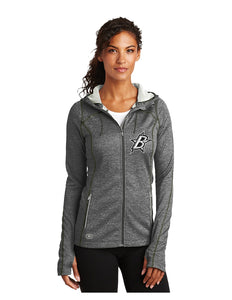 "Black Stars OGIO® ENDURANCE Ladies Pursuit Full-Zip Diesel Grey With Embroidered Black Stars ""B"" Logo (LOE501)"