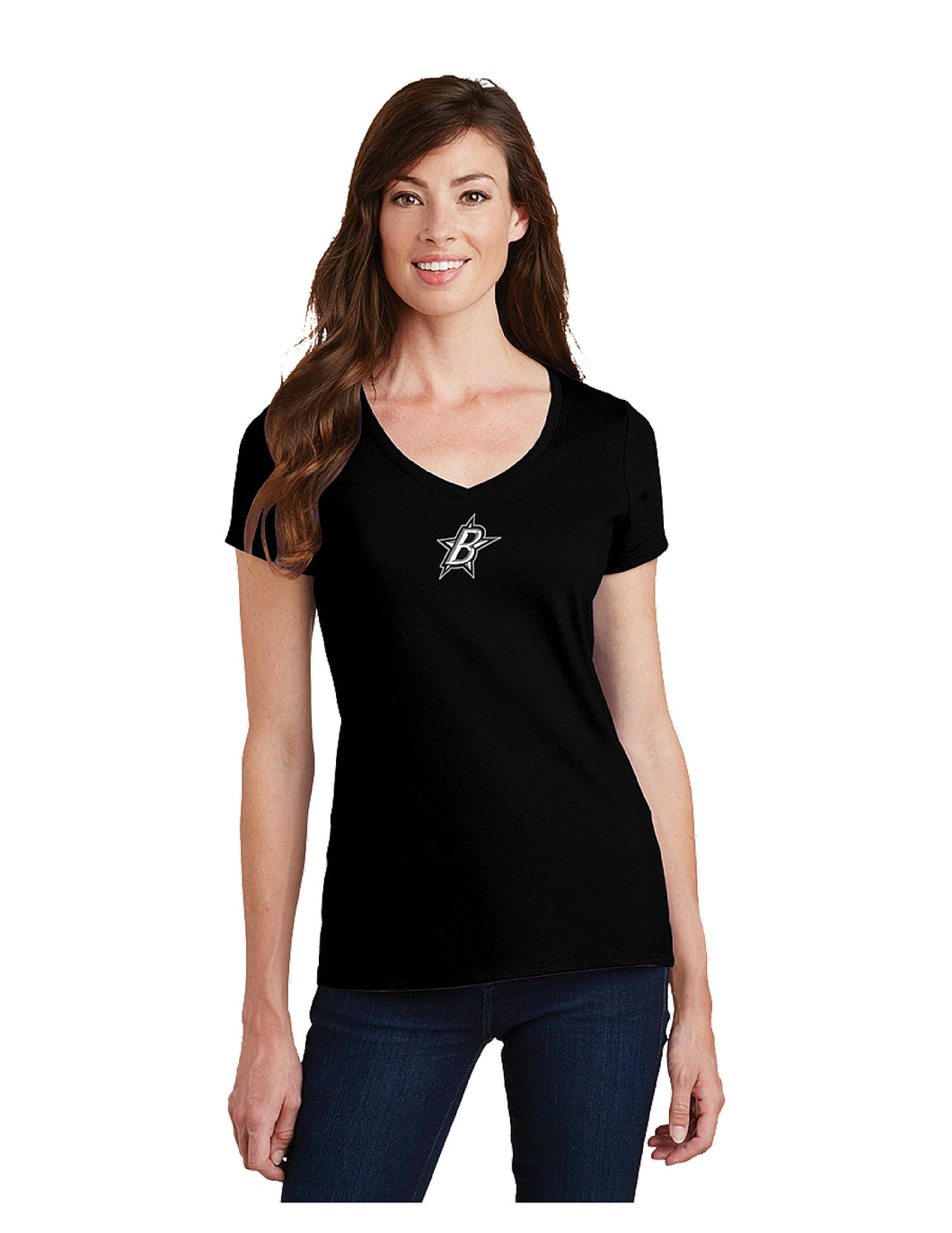 Black Stars Port & Company® Ladies Fan Favorite™ V-Neck Tee Black With Black Stars Small