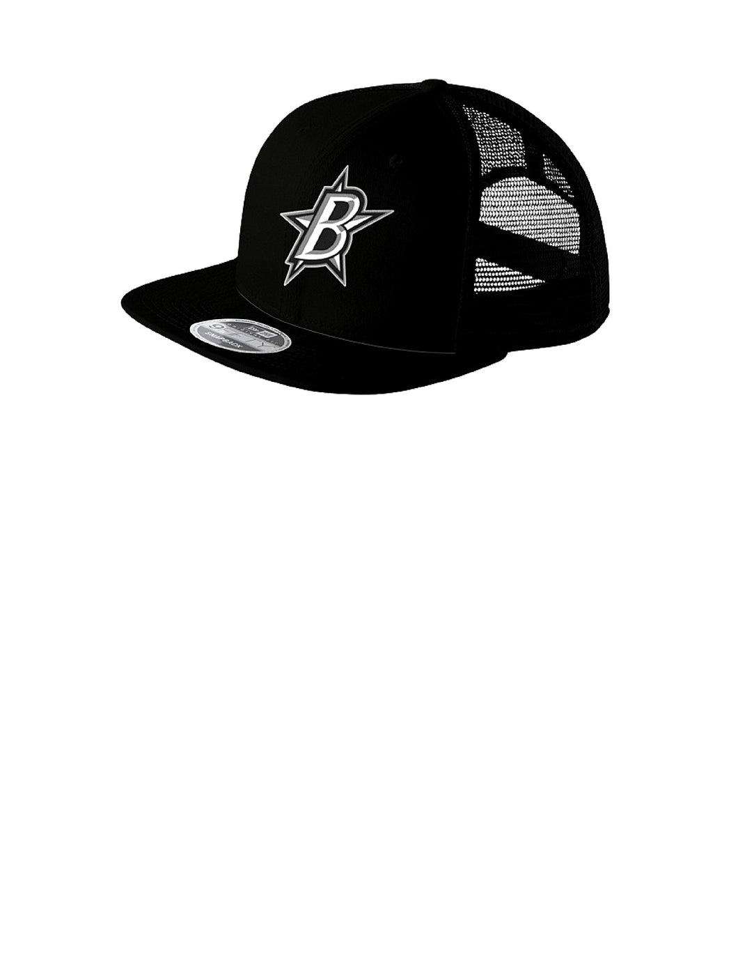 Black Stars New Era® Original Fit Flat Brim Snapback Trucker Cap Black With Black Stars