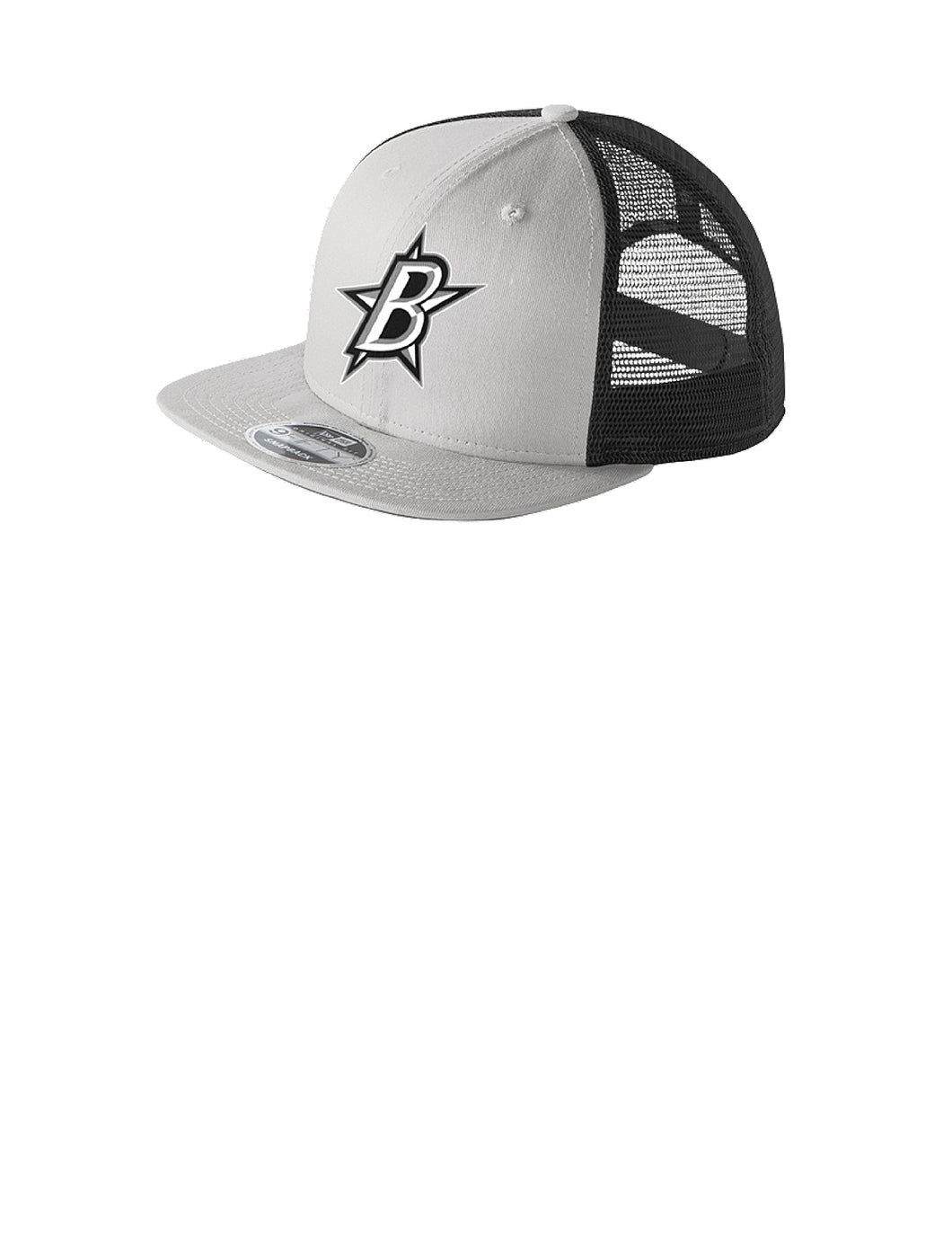 Black Stars New Era® Original Fit Flat Brim Snapback Trucker Cap Grey/Graphite With Black Stars