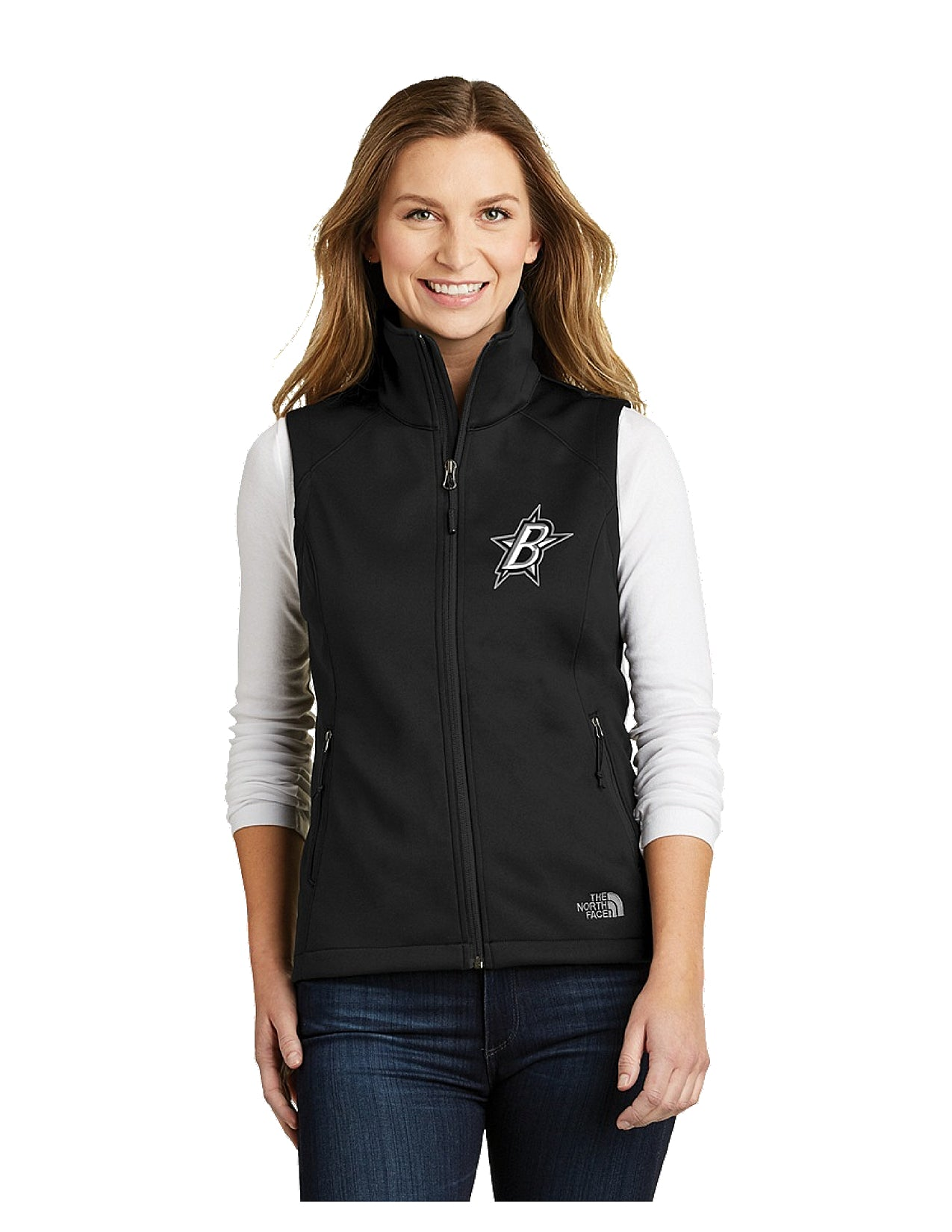 cdfb07784 Black Stars The North Face® Ladies Ridgeline Soft Shell Vest Black With  Embroidered Black Stars