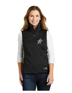 "Black Stars The North Face® Ladies Ridgeline Soft Shell Vest Black With Embroidered Black Stars ""B"" Logo (NF0A3LH1)"