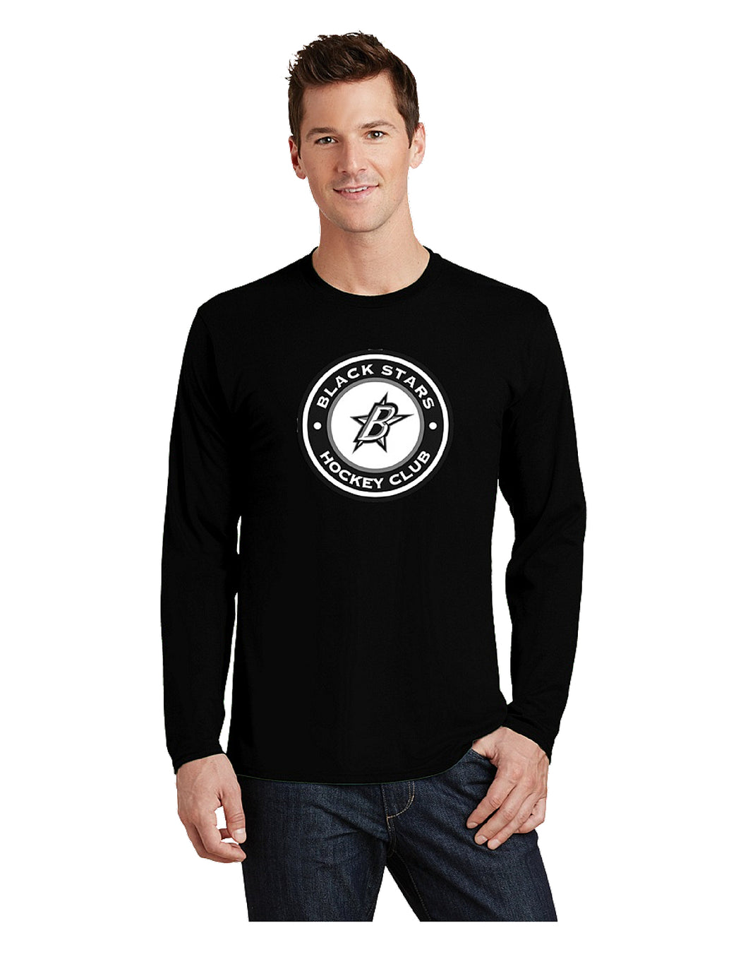 Black Stars Port & Company® Long Sleeve Fan Favorite™ Tee Black With Black Stars Circle Club Logo (PC450LS)