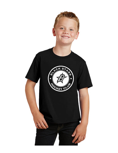 Black Stars Port & Company® Youth Fan Favorite™Tee Black With Black Stars Circle Club Logo (PC450Y)